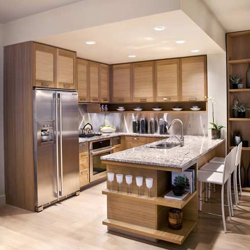 Modern kitchen cabinets with countertops contemporary design