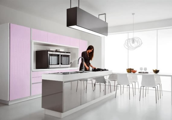 New modern pink kitchen design