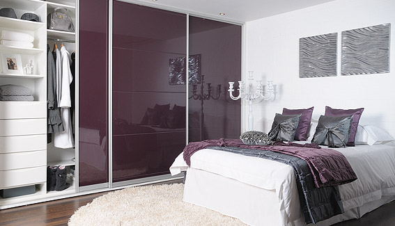 High Gloss Aubergine Wardrobe