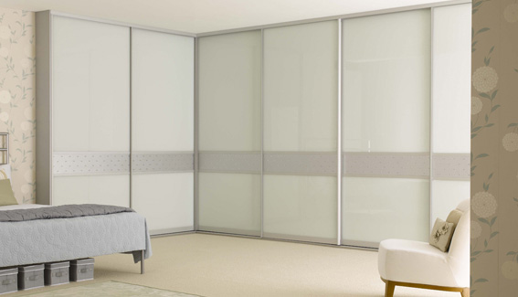Metallic Dado & White Glass Wardrobe