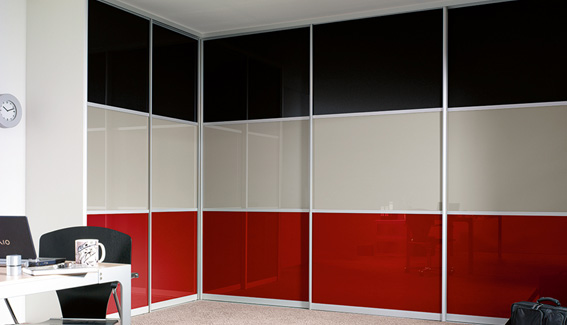 Red, Black& Cream Glass Wardrobe