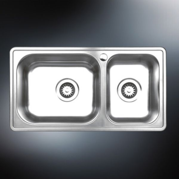 offset double bowl stainless steel sink